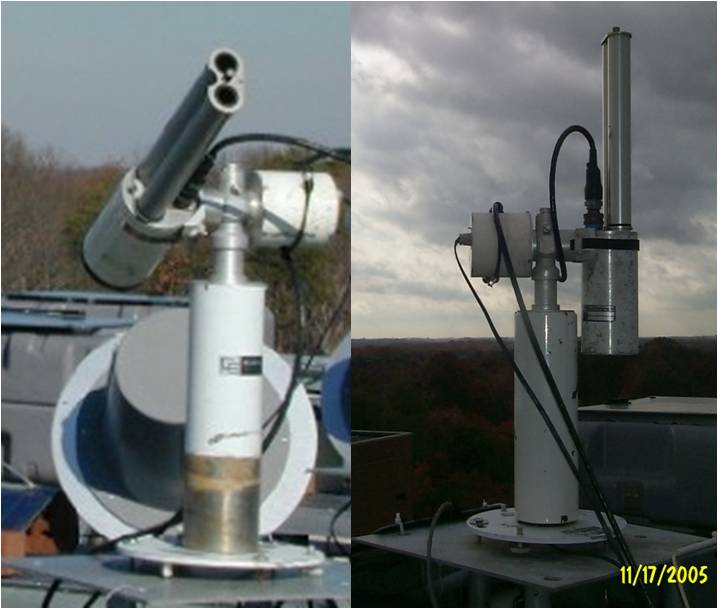An AERONET sunphotometer operating in normal sun-seeking aerosol mode (left) and zenith-pointing cloud mode (right).
