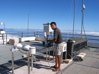 Photo of the sunphotometer on the roof of the Izana Obersvatory with Site Manager Ramon Ramos.