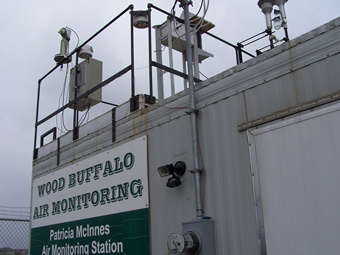 Sunphotometer is mounted on the roof of the Patricia McInnes Air Quality Monitoring station.