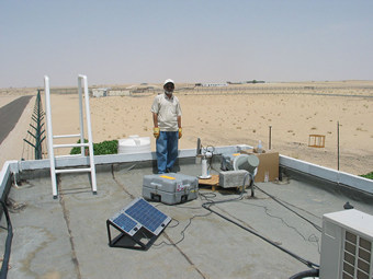 Cimel sunphotometer at Saih Salam site with engineer Mohammed Ramzan pictured.
