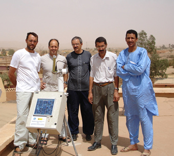 R. Ramos, E. Cuevas, L. Zeudmi_ Sahraoui, M. Mimouni,  and M. Zoukani (from left to right) after the installation of the sunphotometer at Tamanrasset on September 29, 2006.