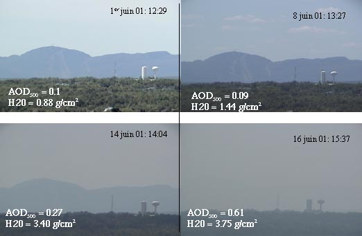 (Photo courtesy X. Thioret, M.Sc. student). An illustration of visibility variation, as seen from the roof of the Cartel site (University of Sherbrooke, Eastern Canada). Mount Orford is at a distance of 25.25 km and the water tower (white) is 5 km away. The corresponding aerosol optical depth (AOD) and the integrated wapter vapor (H2O) values are given for each date.(For more information on this series contact alain.royer@usherbrooke.ca or noneill@courrier.usherb.ca.)