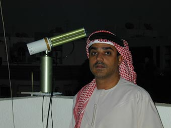 Major Abdulla Al Mandoos, Head of Meteorological Section, with the sun photometer.