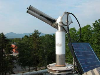A close-up view of the sunphotometer atop the installation site