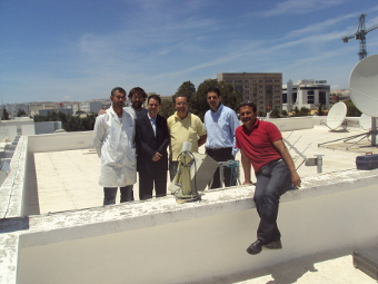 A picture during installation. From Left to rigth: Arbi Trifi, Ramon Ramos, Faycal Elleuch, Mounir Souii, Ilyes Zarrouk and Fekri Ghorbel.